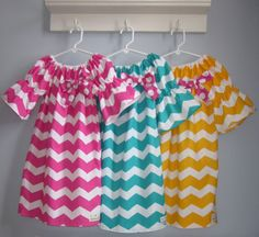 Girls Spring Easter Chevron Dresses - Pink, Aqua or Yellow 6 12 18 24 2T 3T 4T 5/6 7/8 9/10. $22.00, via Etsy.