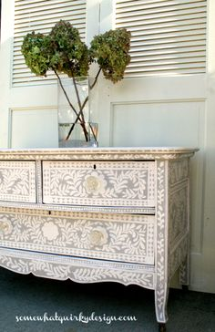 Hand painted dresser by Somewhat Quirky Design, featured on FunkyJunkInteriors.net