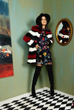 alice + olivia fall 2016 NYFW Striped fur & all over embroidered dress with thigh highs. #aofall16