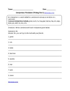 Worksheet Interjections Worksheet the ojays and worksheets on pinterest interjections worksheet 2 ela literacy l 5 1a language worksheet