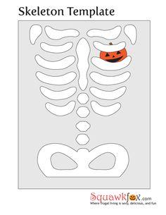Skeleton Halloween Costume Template. Cute heart.