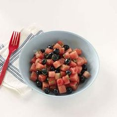 Watermelon-Blueberry Salad Recipe I will add apples, cool whip and lemon zest