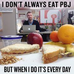 Lunch with the world's most interesting man. #peanutbutterjellytime #yummy #TheMostInterestingSandwich #MostInterestingMan #throwbackThursday #meme #nuts