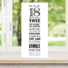 18th Birthday Card 'Now You're 18' by AmandaWishartDesign on Etsy
