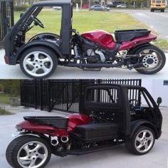 Hayabusa Reverse Trike is amazingly cool. Trike Scooter, Trike Motorcycle, Rat Rod Cars, Pedal Cars, Tricycle, Go Kart Kits, Bike Cart, Custom Trikes, Microcar