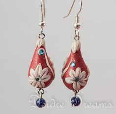 Reserved for Monica - Christmas Bridal Flower Earrings - Polymer Clay Flowers - Christmas Winter Wedding - Gypsy Wedding Holiday Jewelry. $27.50, via Etsy.