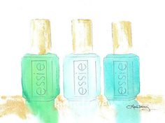 Essie Nail Polish in Watercolor by lauratrevey on Etsy By Laura Trevey, gorgeous watercolors Painting Frames, Painting Prints, Art Print, Print Paper, Paintings, Painting Art, Essie Nail Polish, Creative Nails, Creative Ideas