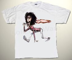 FRANK ZAPPA cartoon 2 CUSTOM ART UNIQUE T-SHIRT  Each T-shirt is individually hand-painted, a true and unique work of art indeed!  To order this, or design your own custom T-shirt, please contact us at info@collectorware.com, or visit  http://www.collectorware.com/tees-frankzappa_andrelated.htm