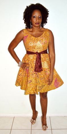 Surely, I would be fly! Brown And Gold African Ankara Print Short Dress, Handmade Short Dress, – Zabba Designs African Clothing Store