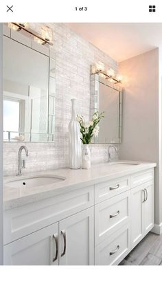 Double Bathroom Vanity Designs Ideas - If area licenses, two sink locations offer wonderful convenience in common washrooms. Discover ideas for bathroom vanities with double the area, . vanity Top 10 Double Bathroom Vanity Design Ideas in 2019 Modern Master Bathroom Design, Modern Master Bathroom, Double Vanity Bathroom, Elegant Bathroom, Bathroom Interior, Bathroom Vanity Designs, Small Bathroom Renovations, Bathroom Decor, Vanity Design