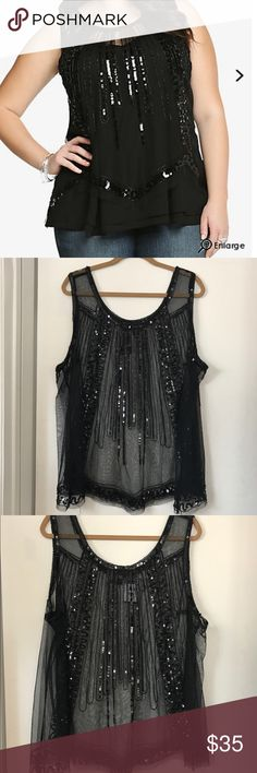 Torrid sequin top NWT torrid sequin beaded sheer tank top torrid Tops Tank Tops