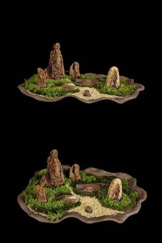 Zen moss and rock garden. Could use our beautiful silicone flowers by Bubble Botany.