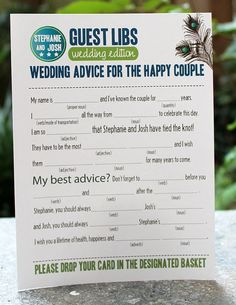 I think these would be fun for guests to fill out when they are seated at the reception and waiting for the bridal party to enter