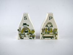 Figgjo Market Salt & Pepper Shakers - Vintage Mid Century Turi Design S and P - Made in Norway