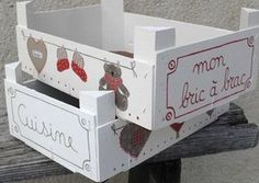 22 Ideas Fruit Box Decoration For Kids For 2019 Wood Crafts, Diy And Crafts, Fruit Box, Wooden Crates, Wood Boxes, Diy Projects To Try, Diy For Kids, Decoupage, Decorative Boxes