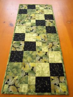 Quilted Table Runner Green Leaves on Handmade Artists Shop