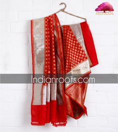 Red handwoven banarasi silk dupatta by Weavers Studio. www.indianroots.com