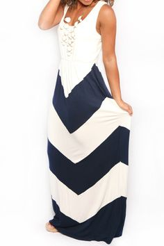 Walk This Way Again Maxi in Navy White
