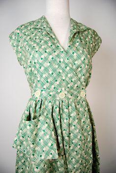 Sadie Green Retro Cotton Day Dress