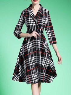 Shop Midi Dresses - Black Polyester Checkered/Plaid 3/4 Sleeve A-line Midi Dress online. Discover unique designers fashion at StyleWe.com.