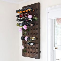 riddling rack for wall wine storage Built In Wine Rack, Wood Wine Racks, Wall Hanging Wine Rack, Riddling Rack, Wine Rack Plans, Wine Rack Design, Wine Stand, Pallet Patio Furniture, Furniture Ideas