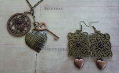 Necklace Earrings Set Copper Disk Pendant with Flowers & Butterflies, Brass Heart, Copper Key Pendants Brass Filigree Earrings Copper Hearts