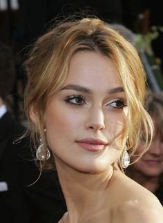 Kiera Knightly, long bangs, and carmel color