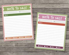 Free printable Note to Self... Would be great to bind a stack of these to use as a to do list