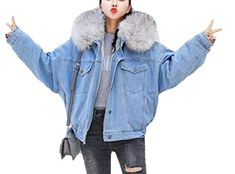 1a71b6b8f1bc Women's Winter Faux Fur Collar Thick Warm Fleece Loose Denim Jacket Coat