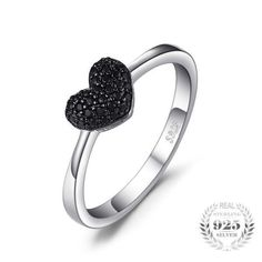 925 Sterling Silver and 0.14ct Natural Black Spinel Heart Ring