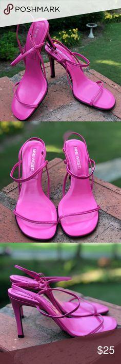 "Nine West ""Raceway"" Pink Strap Sandals (5 1/2) EUC Pink Slim Straps with Stretch Sling Back Size: 5 1/2 Approx: 3 1/2 inch Heels Nine West Shoes Sandals"