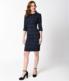 Hell Bunny 1950s Navy Blue Tartan Three-Quarter Sleeve Hamilton Pencil Dress