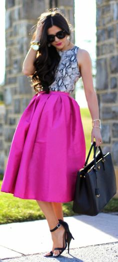 Choies Pink Midi Skater Skirt by The Sweetest Thing