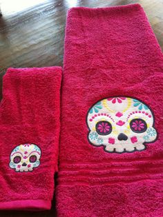 Sugar Skull Bathroom Towel Set
