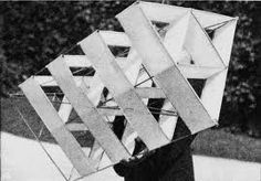 A rather complex triangular Box kite. It has 16 triangular cells. A good sturdy high-wind flier no doubt. Photo taken in the mid 20th century - a guess on my part. T.P. (my-best-kite.com)