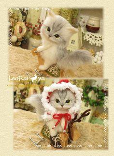 LeoRai*ya/羊毛フェルト猫/木馬に乗ったにゃんこ/ハンドメイド_3