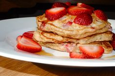 Healthy Whole Wheat Strawberry Pancakes