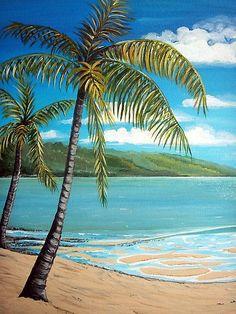 45 Ideas For Painting Acrylic Sea Beach Mural Beach Mural, Beach Art, Palm Tree Art, Palm Tree Paintings, Palm Trees Beach, Palm Tree Drawing, Tropical Art, Tropical Beaches, Beach Scenes