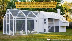 The Mansion Chicken Run and the Mansion Backyard Chicken Coop painted white. #BackyardChickens