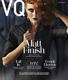 VQ magazine featuring Phillip Stoner's diamond set cross pendant on the front cover. October 2012.