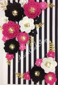 Kate Spade Inspired Paper Flowers, Kate Spade theme paper flower, Kate Spade flowers backdrop .