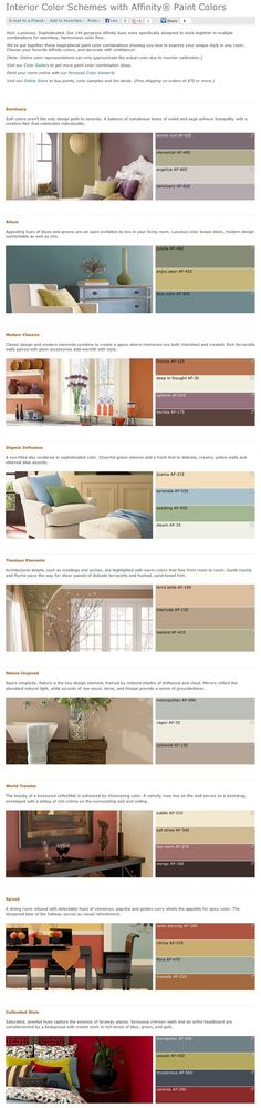 Favorite, popular, & best selling shades of interior paint color palettes by Affinity collection from Benjamin Moore.: