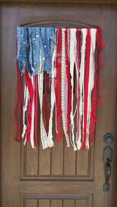 """Hanging Flag On Wall american flag inspired """"rag"""" flag door hanger - farmhouse"""