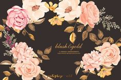 Blush & Gold Roses Clip Art - Illustrations