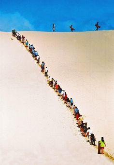 Sand boarding queue on Moreton Island. #Brisbane #Queensland