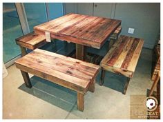 8-seater table and chair set completely made from recycled pallets.