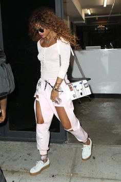 The Fenty Puma Creeper will be named Shoe of the Year at FN's Achievement Awards on Nov. Street Style Rihanna, Mode Rihanna, Rihanna Fenty, Puma Creepers Outfit, Rihanna Puma Creepers, Fashion Killa, Look Fashion, Fashion Outfits, Fashion Tips