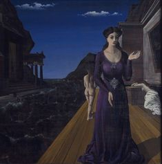 Paul Delvaux Penelope, 1945 Oil on board Sight: 47 x 47 in. frame: 53 x 53 in. x cm) Collection Museum of Contemporary Art Chicago Paul Delvaux, Penelope, Rene Magritte, Surrealism Painting, Magic Realism, Popular Artists, Mature Fashion, Museum Of Contemporary Art, Modern Art