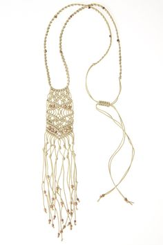 Rose Gold & Natural Macramé Necklace by CORDA | CORDA