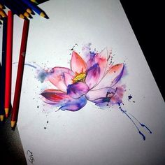 Ideas for flowers tattoo watercolor lotus Aquarell Lotus Tattoo, Watercolor Lotus Tattoo, Aquarell Tattoos, Watercolor Flowers, Watercolor Ideas, Watercolor Paintings, Mini Tattoos, Flower Tattoos, Cool Tattoos